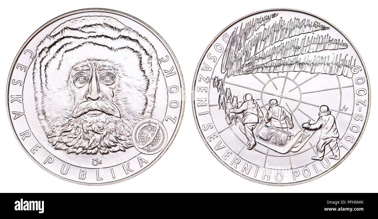 200Kc Silver commemorative coin from the Czech Republic. 100th anniversary of the reaching of the North Pole by Arctic explorer Robert Peary - Stock Image