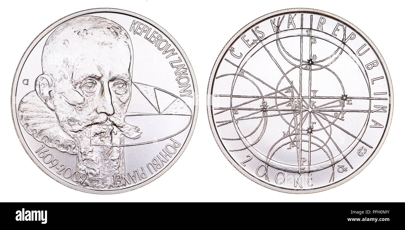 200Kc Silver commemorative coin from the Czech Republic. 400th anniversary of the formulation of the Kepler's laws of planetary motion - Stock Image
