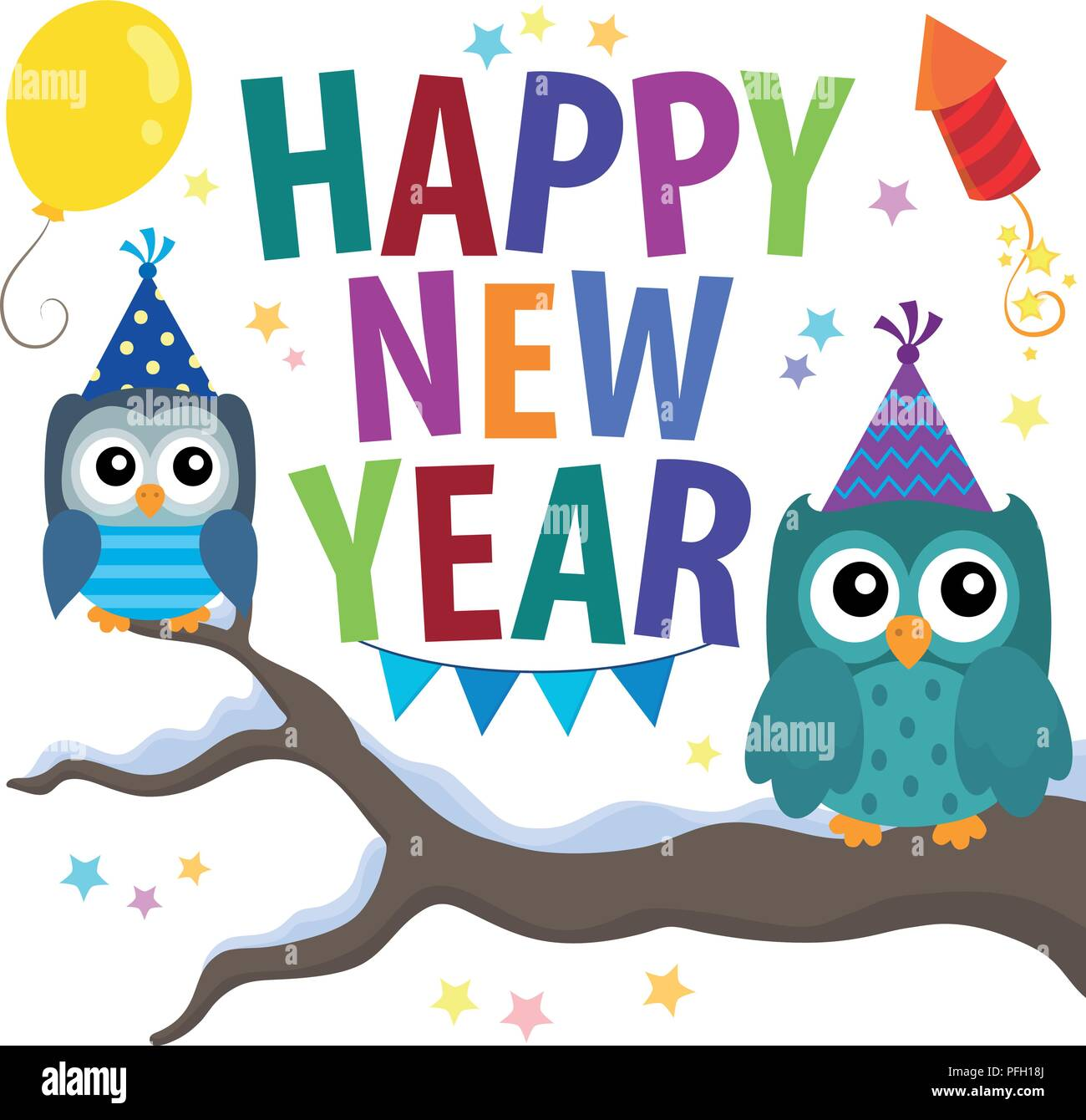 happy new year theme with owls eps10 vector illustration