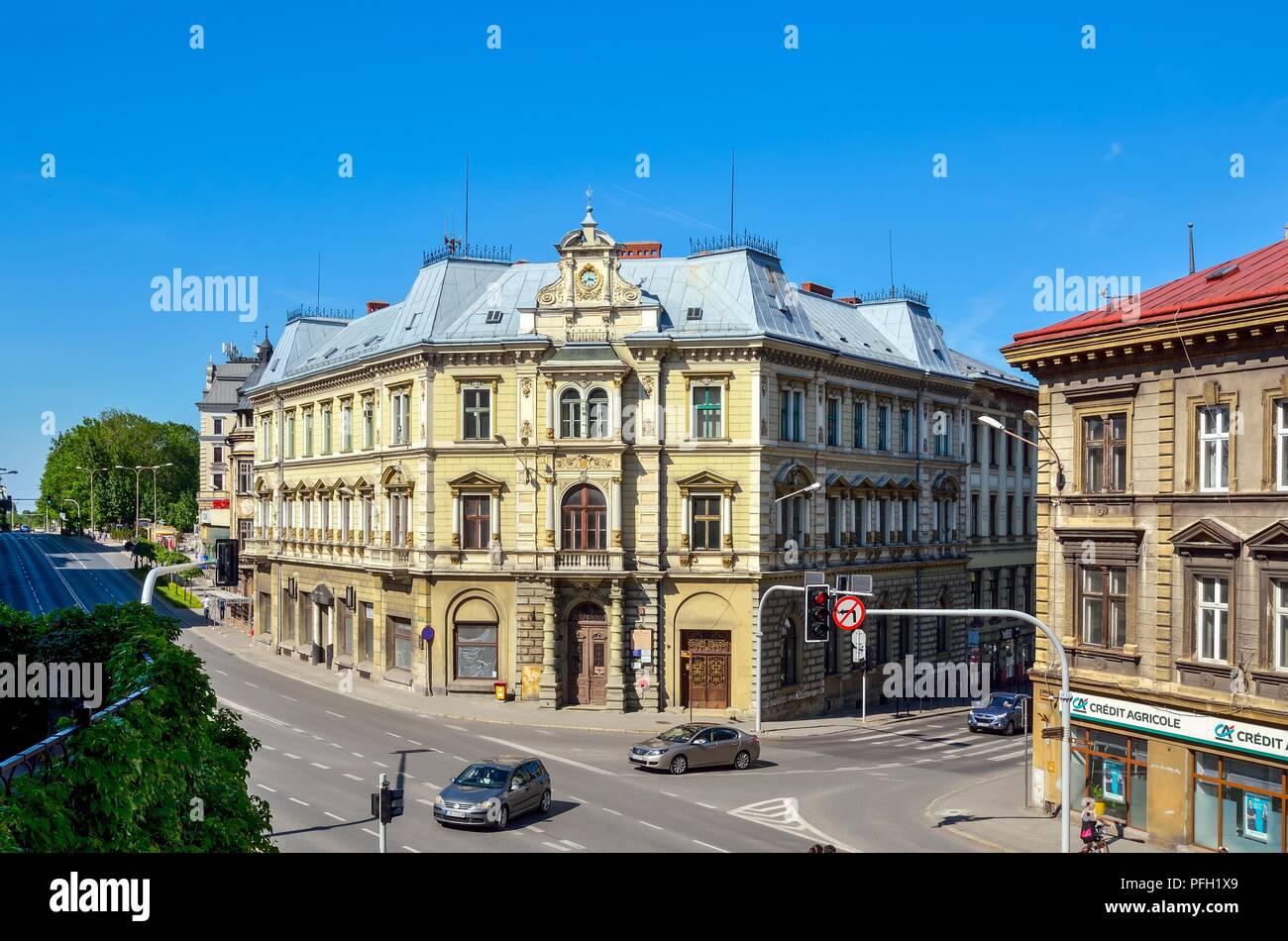 BIELSKO-BIALA, POLAND - MAY 13, 2018: Old tenements in the center of Bielsko-Biala, Poland. - Stock Image
