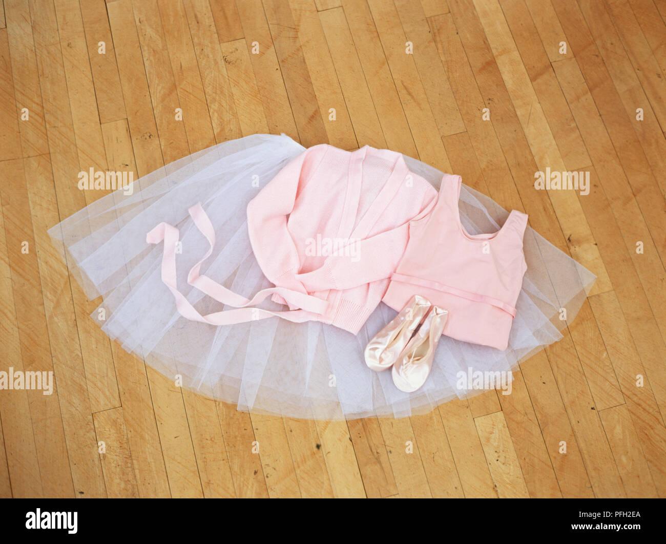 Ballet Dancers Clothes Lying On Floor Tutu Wrap Around Cardigan