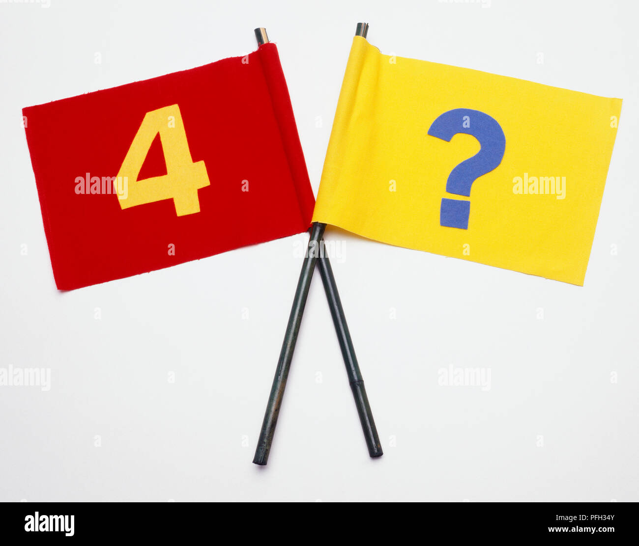 Two flags, one showing number 4, the other showing a blue question mark - Stock Image