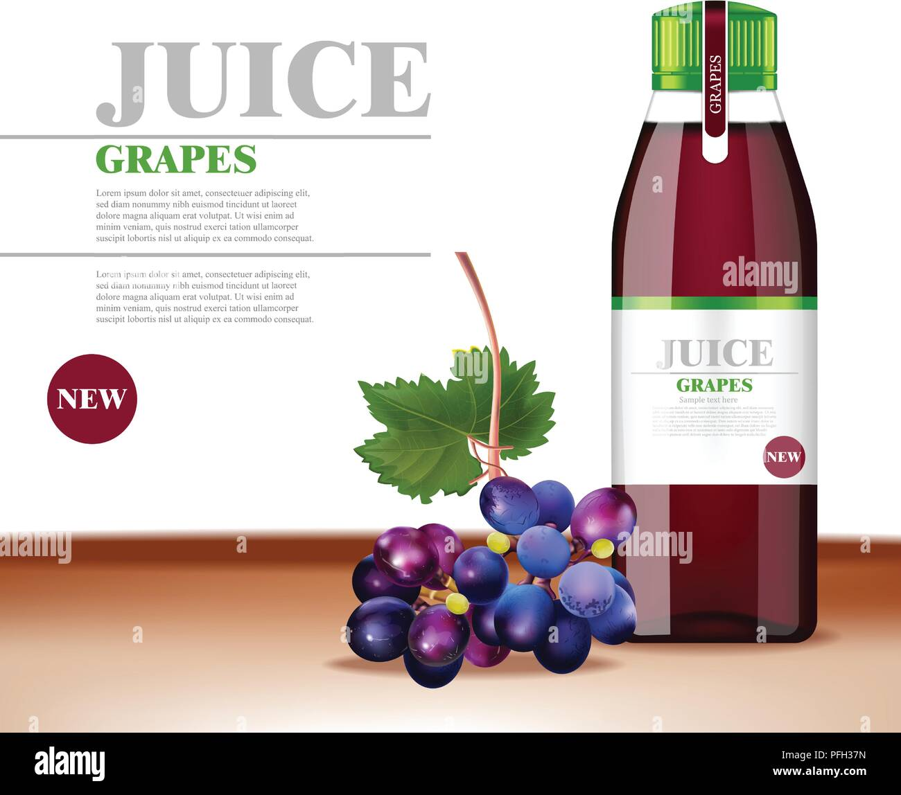 grapes juice vector realistic. product packaging mock up. label