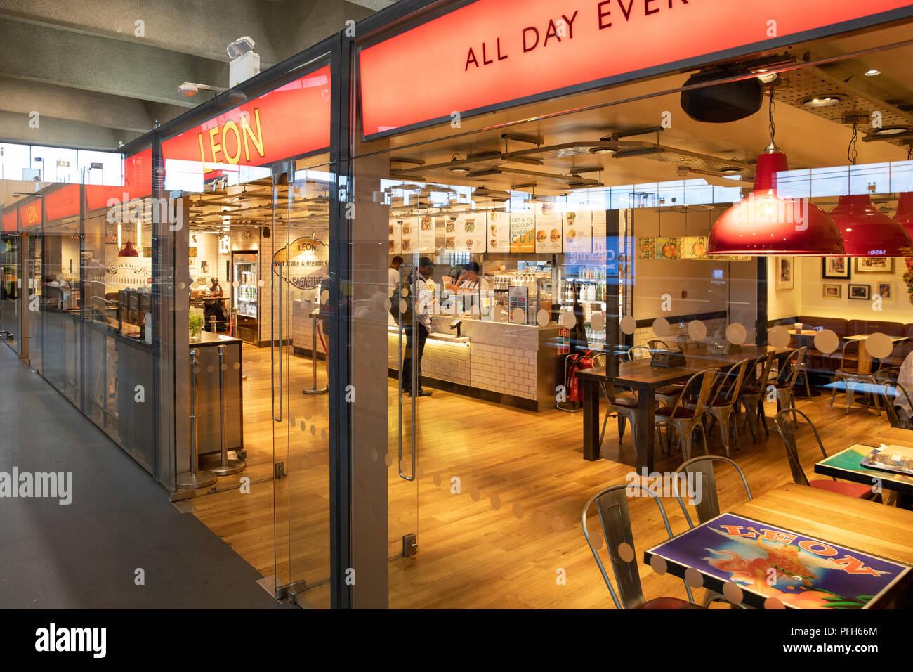 Leon restaurant in Euston station, London - Stock Image