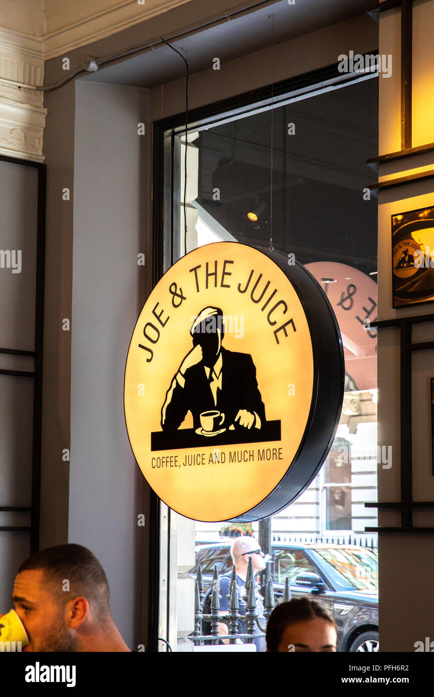 Joe & the juice logo in one of their shops. - Stock Image