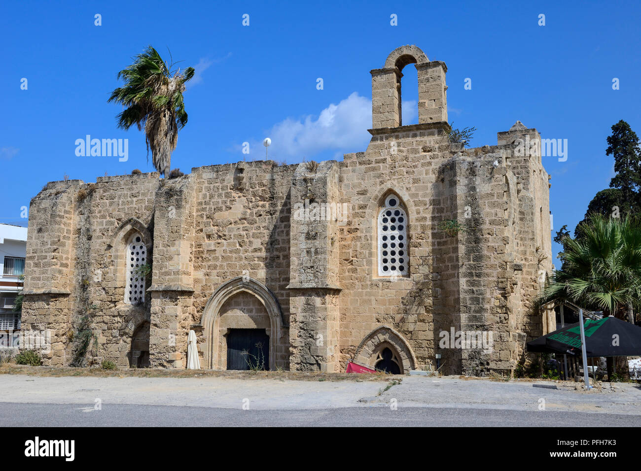 Twin churches of the Knights Templar and Knights Hospitalier in the old city of Famagusta (Gazimagusa) in the Turkish Republic of Northern Cyprus - Stock Image