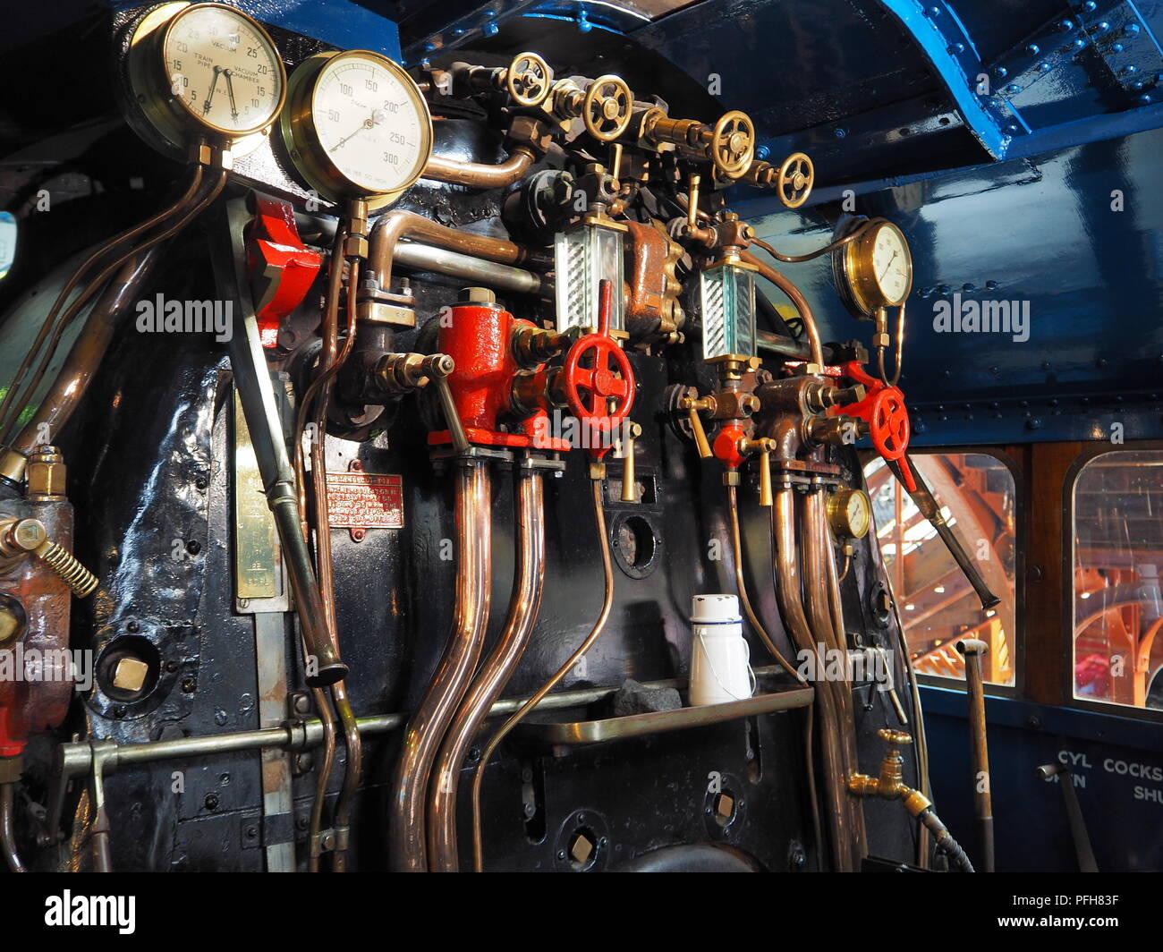 Inside cab of the London and North Eastern Railway steam locomotive Mallard 4468 - Stock Image