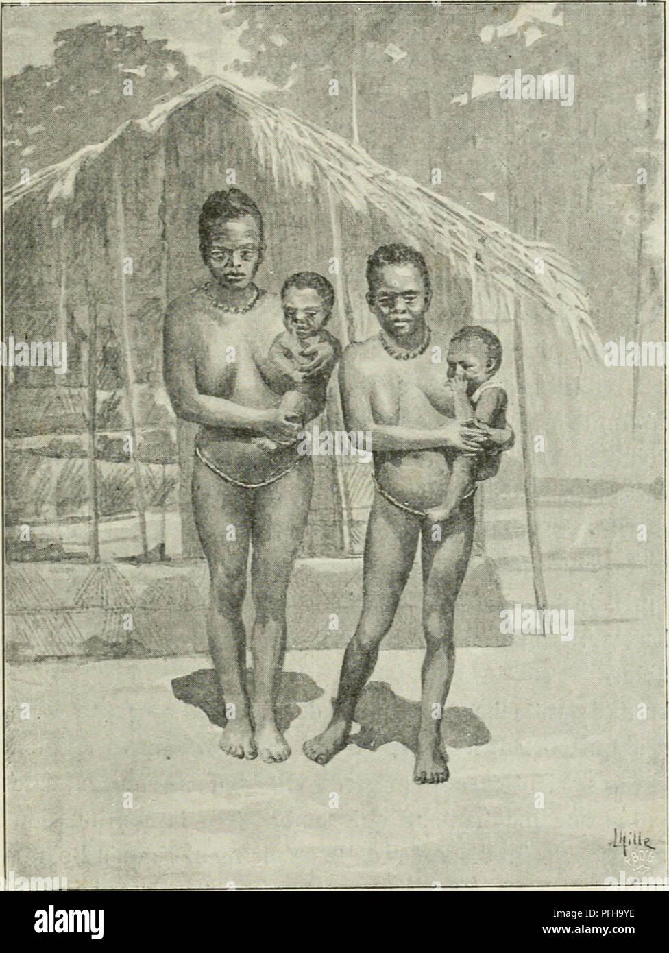 . Dans la grande forêt de l'Afrique centrale. Mon voyage au Congo et à la Mongala en 1896. Botany. Entre le Congo et la Mongala 33 rompue par des plaines herbeuses. Outre mes trois domestiques, quelques soldats noirs de l'Ãtat du Congo devaient aussi m'accompagner, afin de requérir dans chaque village les quinze à vingt porteurs nécessaires pour mes bagages. Je n'en avais alors que dix charges, car je laissai à la station de Ngali tout ce qui ne m'était pas. FESlMEsfuE MONDUNGA. absolument indispensable; cependant il fallait deux porteurs pour chacun des plus lourds colis et deux pour le h - Stock Image