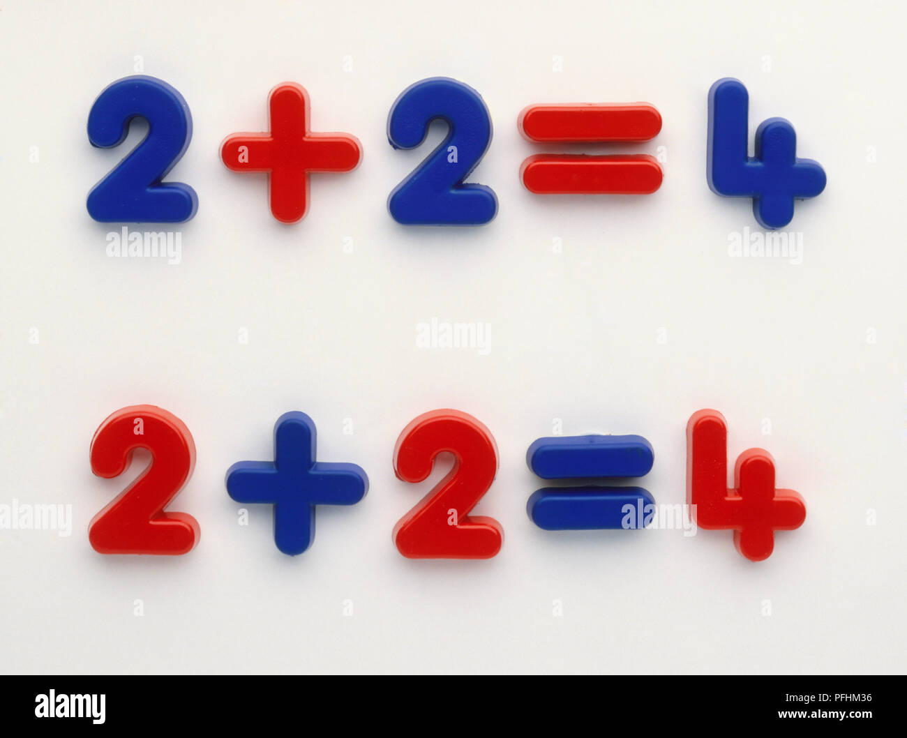 Addition, 2 plus 2 equals 4, numbers and mathematical symbols in blue and red. - Stock Image