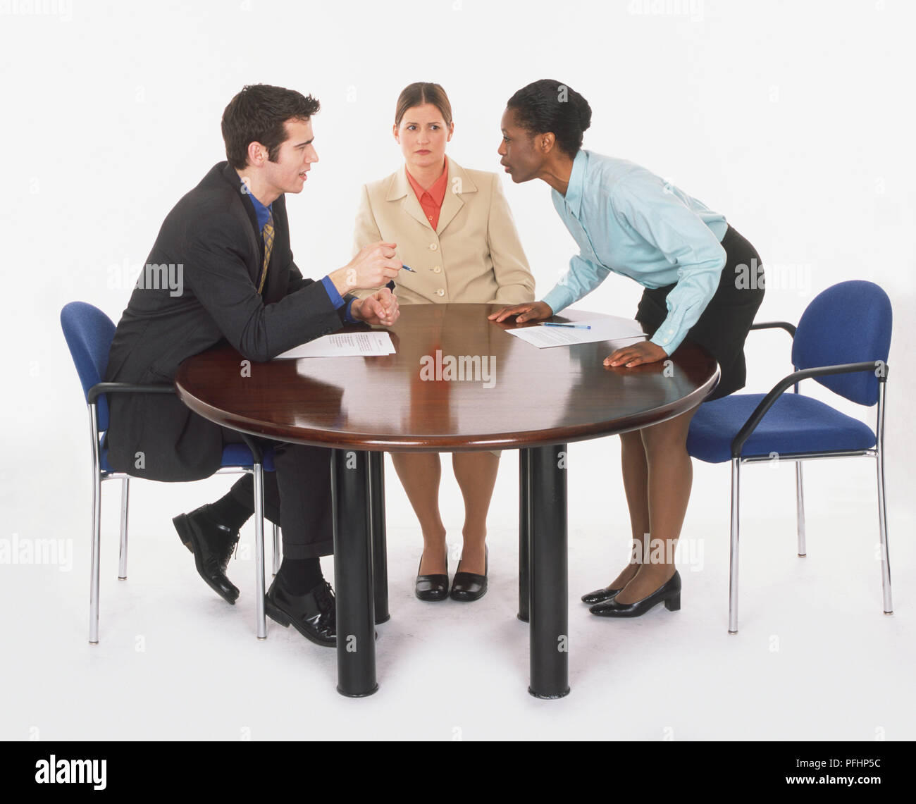 Round Table La Mesa.Three People Round Table Having Stock Photos Three People Round