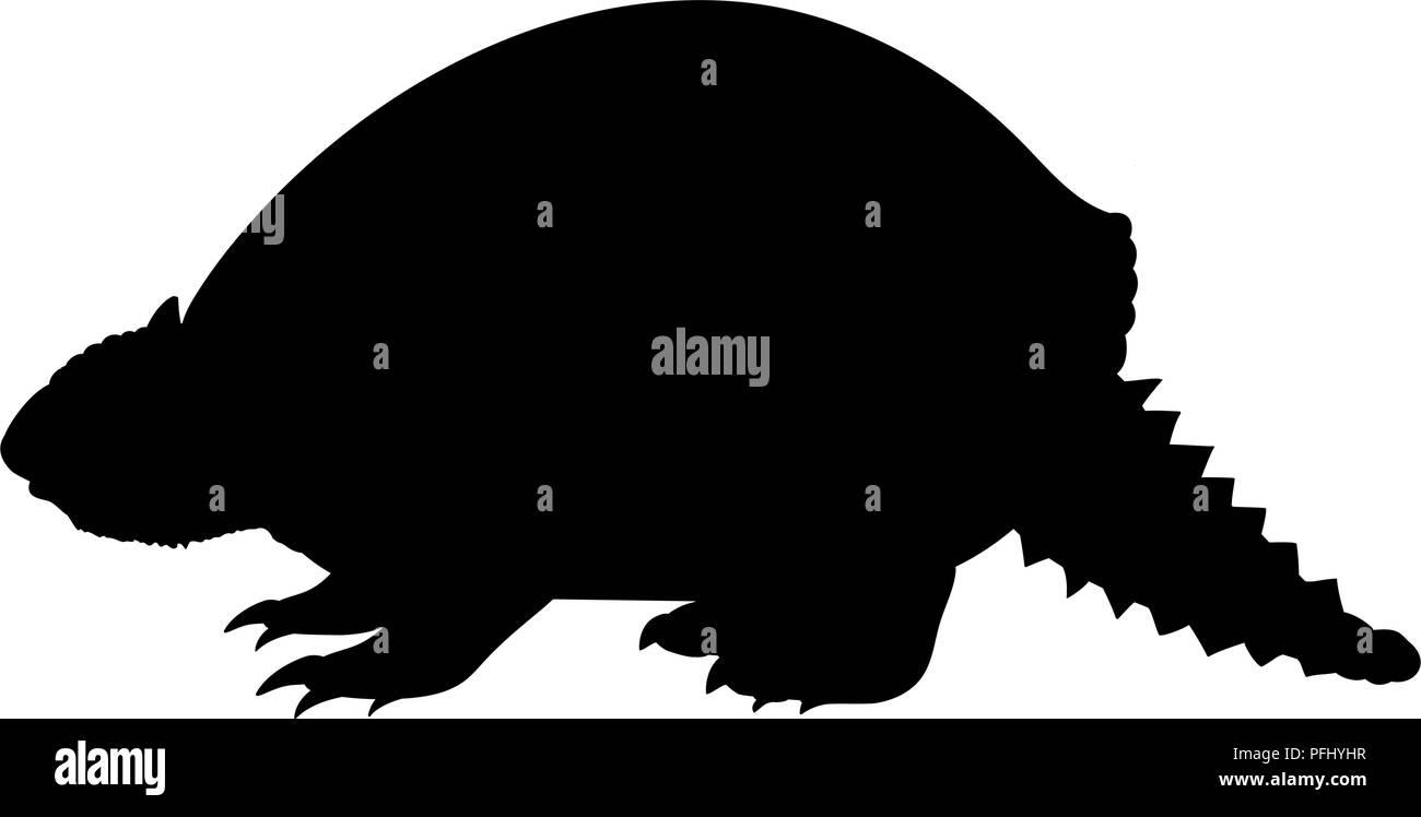Glyptodon prehistoric armadillo silhouette extinct mammal animal - Stock Image