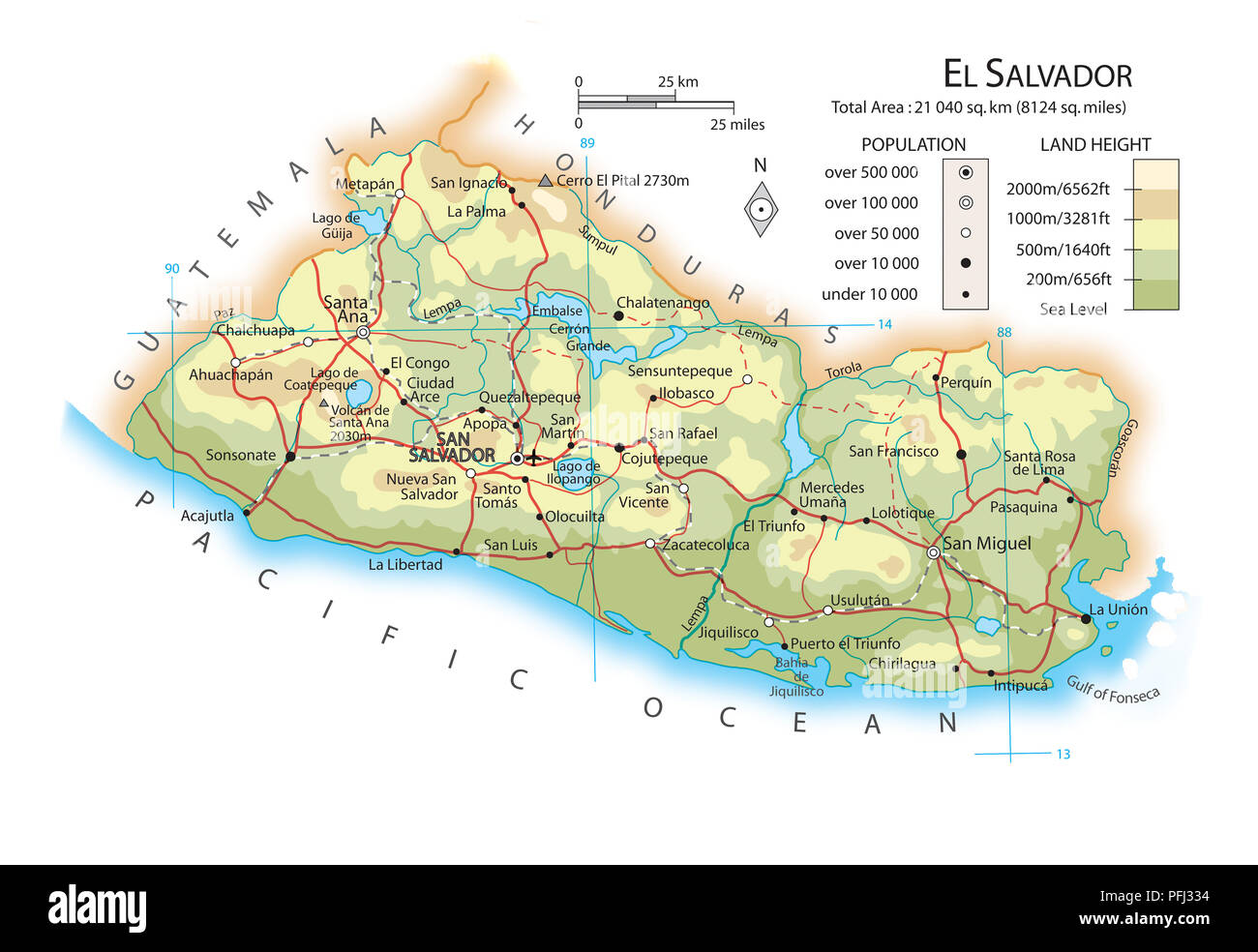 Map Of El Salvador Stock Photos Map Of El Salvador Stock Images