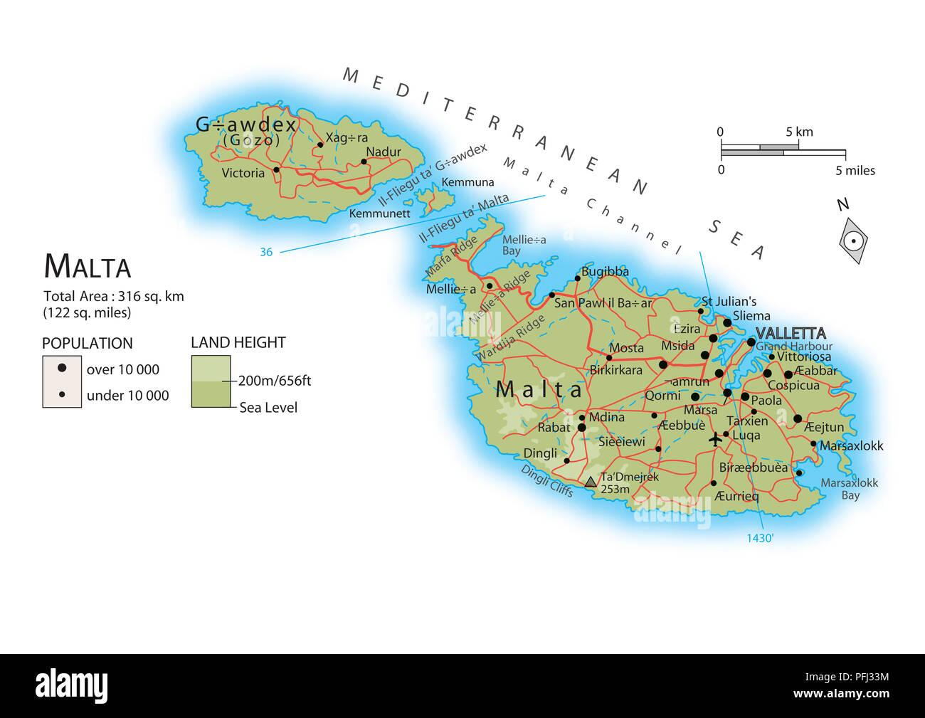 Malta Cartina Stradale.Map Of Malta Stock Photo Alamy