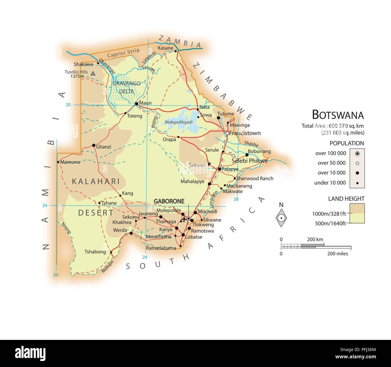 Map of Botswana Stock Photo: 216141932 - Alamy