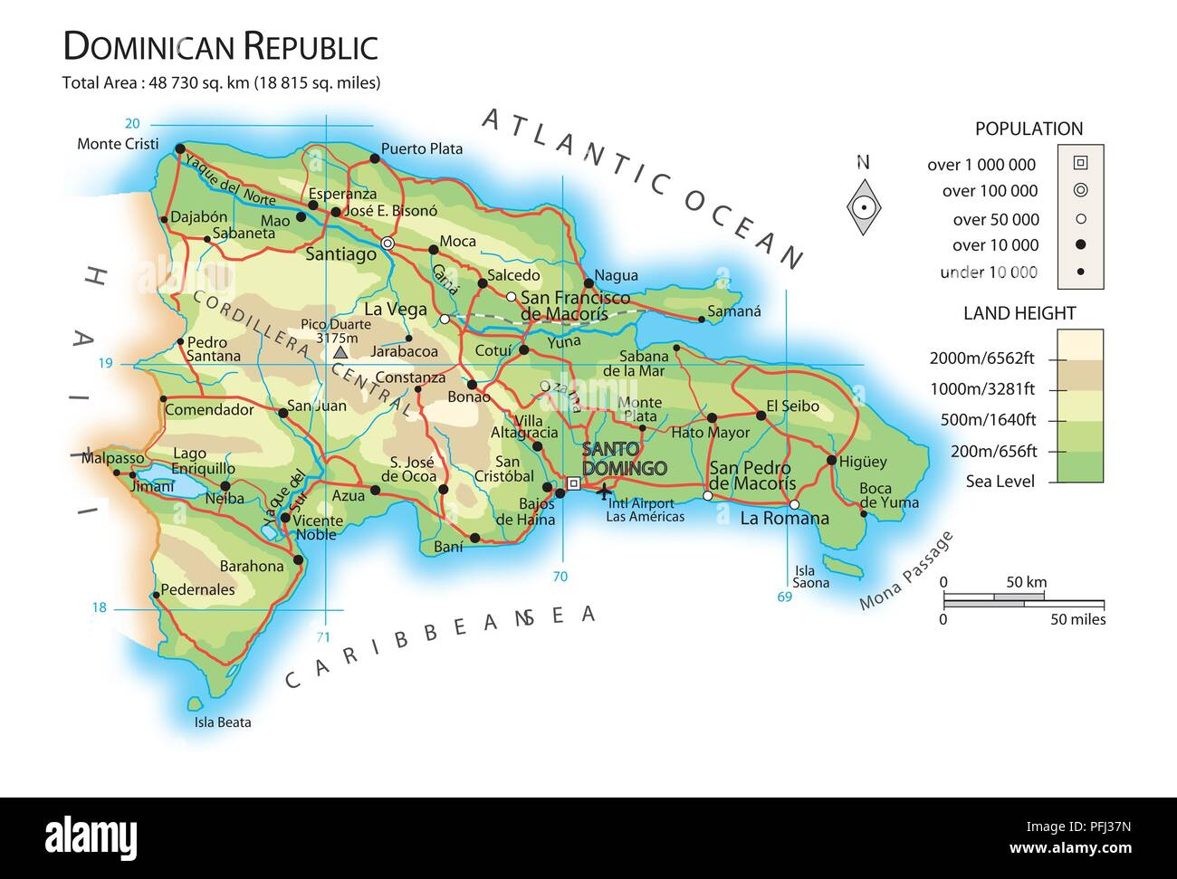 Map of Dominican Republic Stock Photo: 216141961 - Alamy
