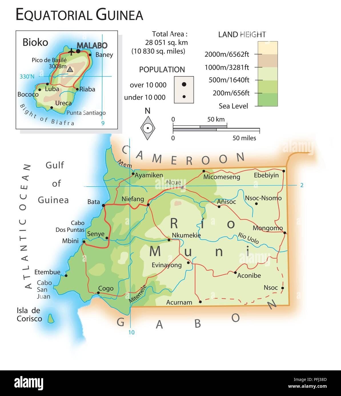 Map of Equatorial Guinea Stock Photo: 216141981 - Alamy