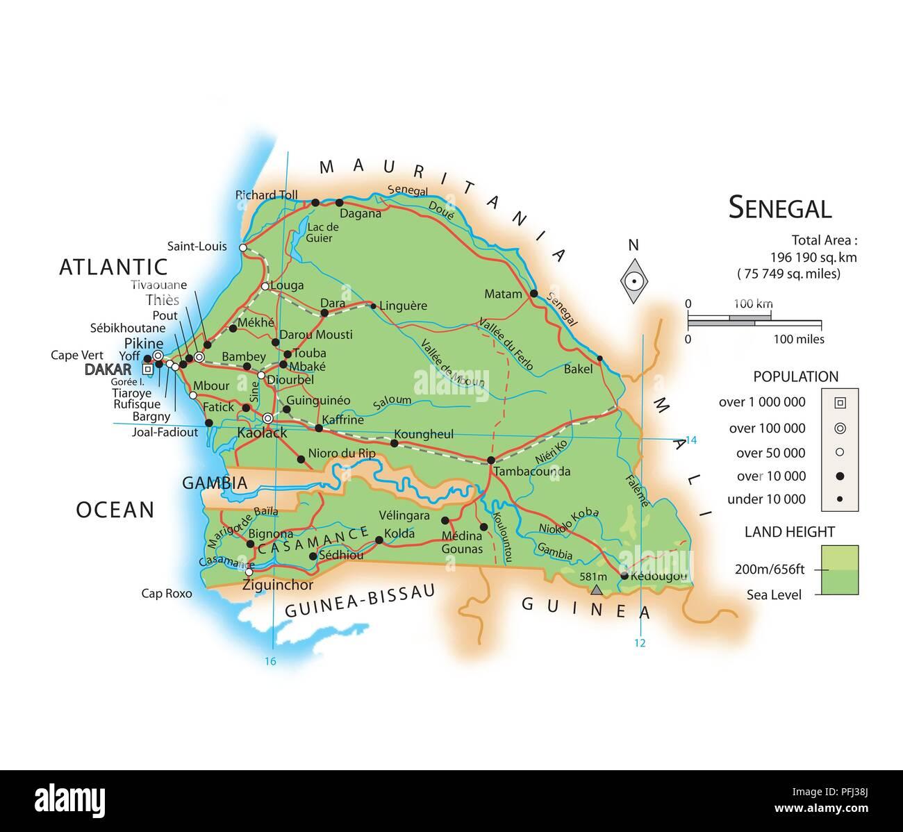 Cartina Fisica Senegal.Map Of Senegal Stock Photo 216141986 Alamy
