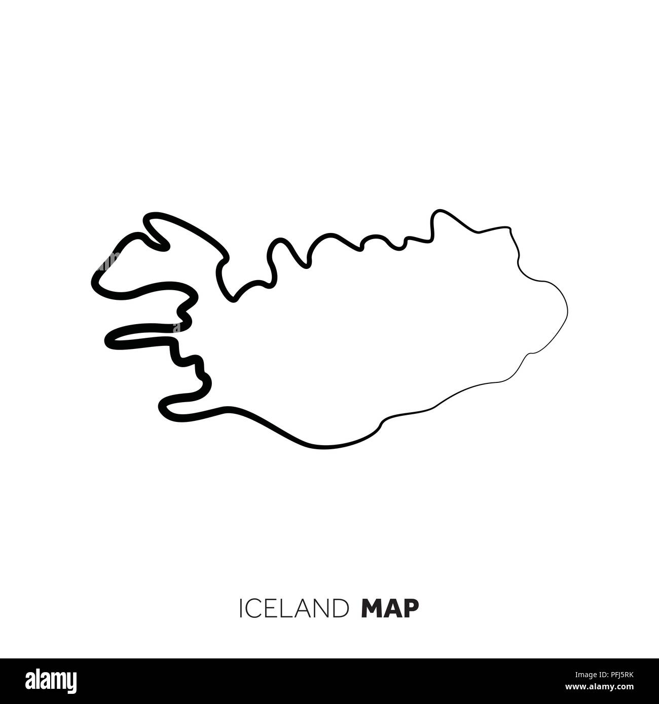 Iceland vector country map outline. Black line on white background ...