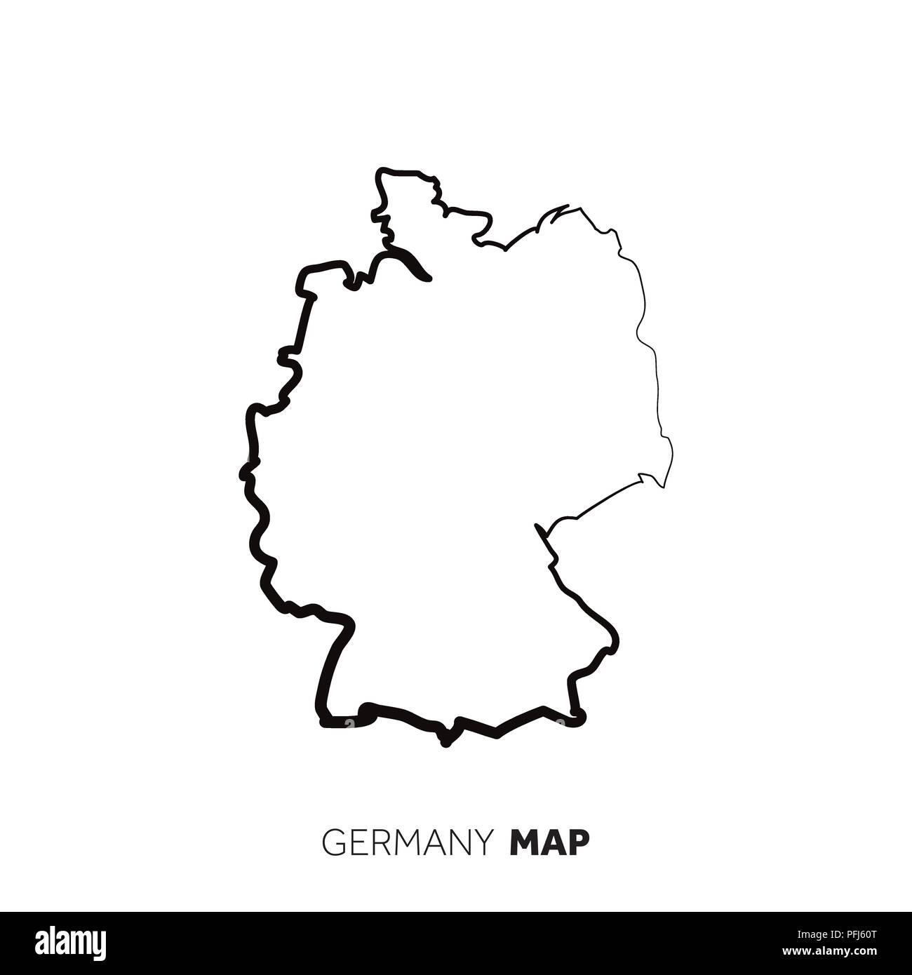 Map Of Germany Outline.Germany Vector Country Map Outline Black Line On White Background