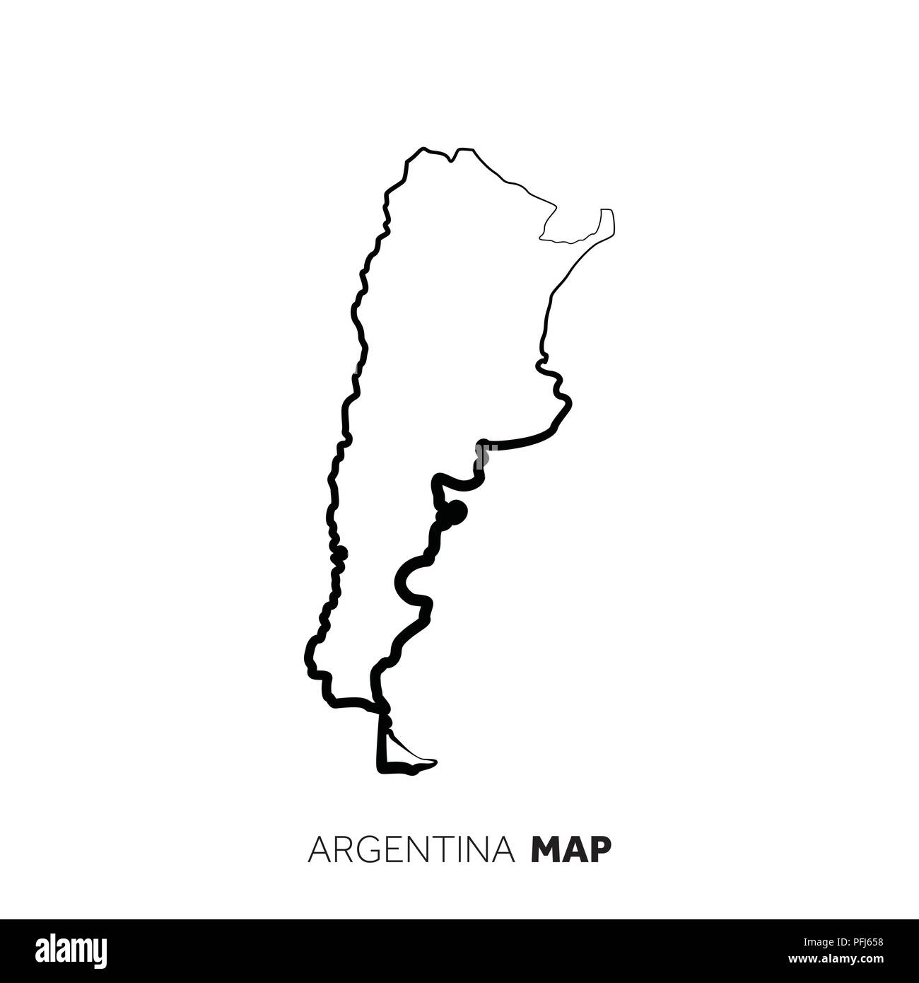 Argentina vector country map outline. Black line on white background Stock Vector