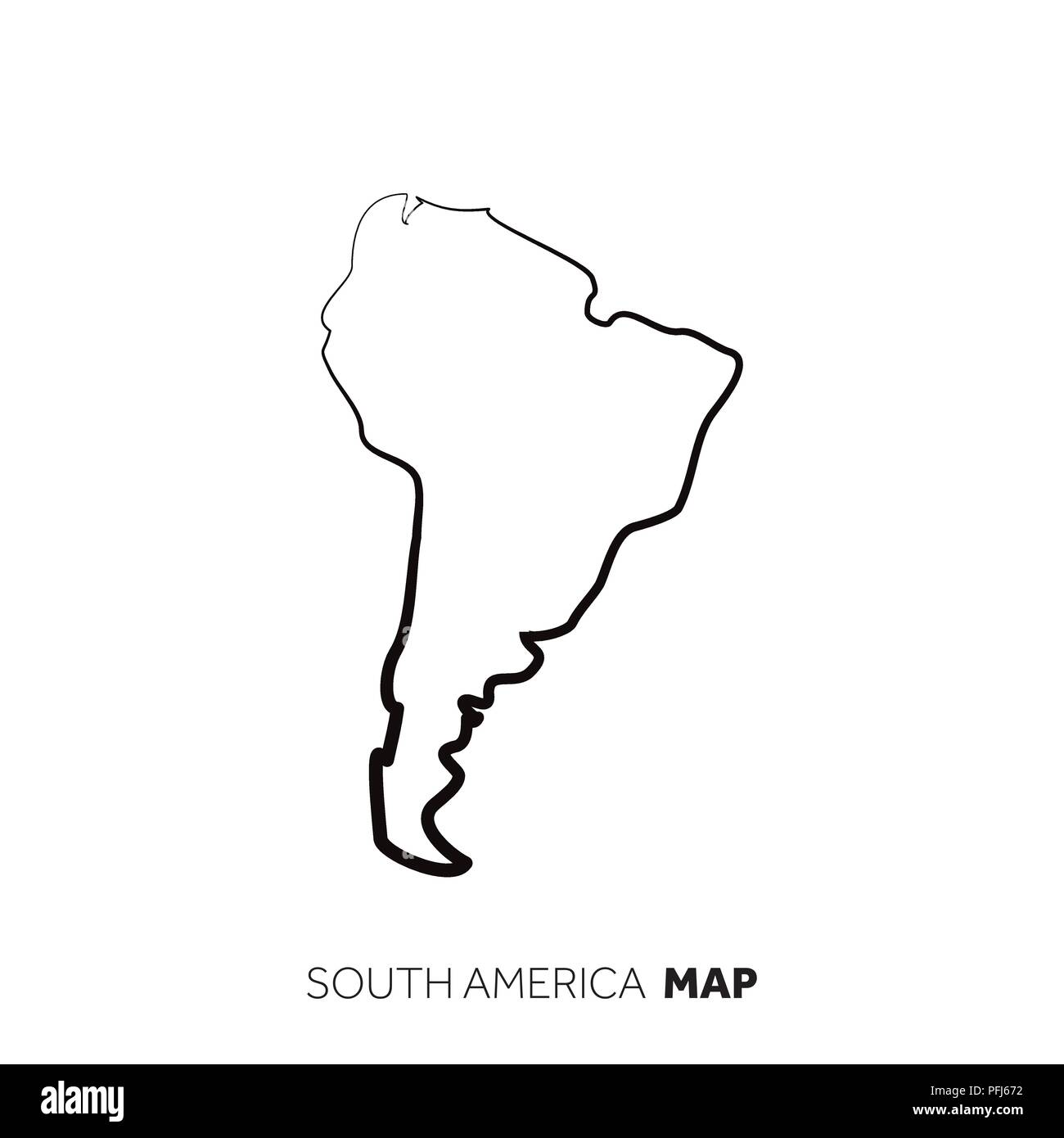 South America vector country map outline. Black line on white ...