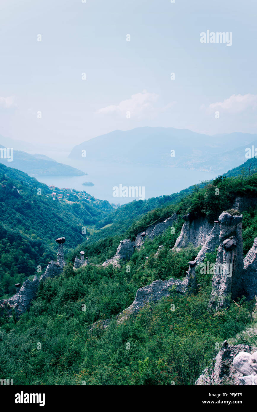 Beautiful view of Iseo Lake and the pyramids of Zone, Lombardia, Italy. - Stock Image