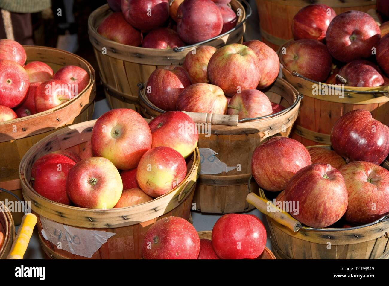 Usa New Mexico Santa Fe Farmer S Market Baskets Of Apples For