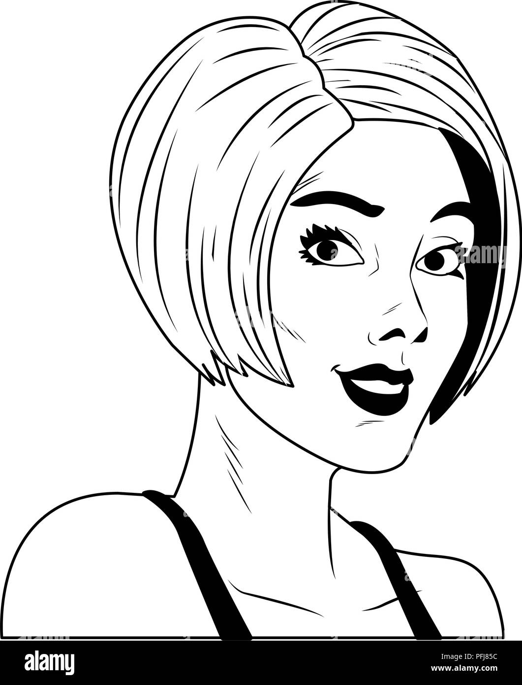 short hair style black and white stock photos images alamy Formal Side Hairstyles woman profile pop art cartoon in black and white stock image
