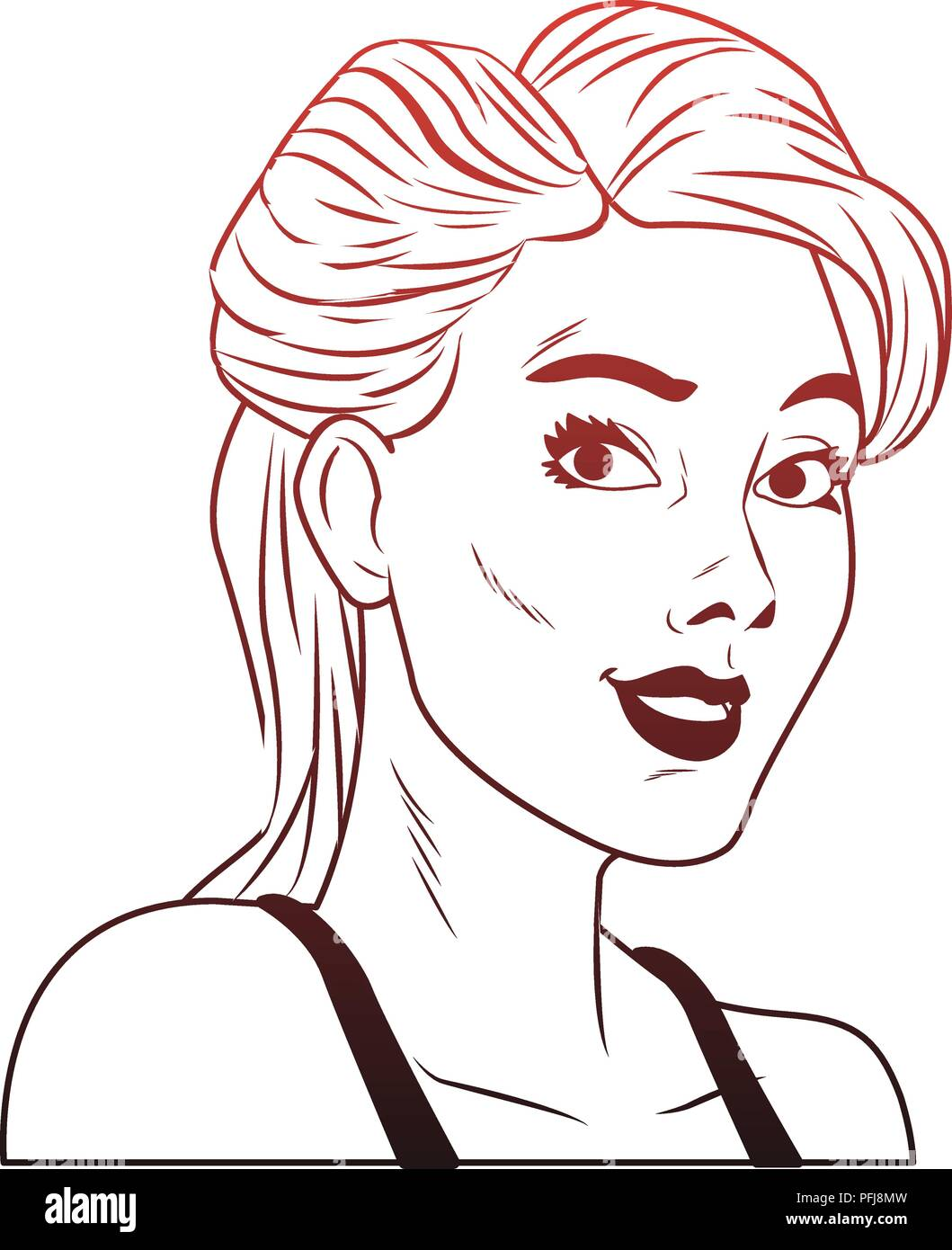 Woman profile pop art cartoon red lines Stock Vector Art
