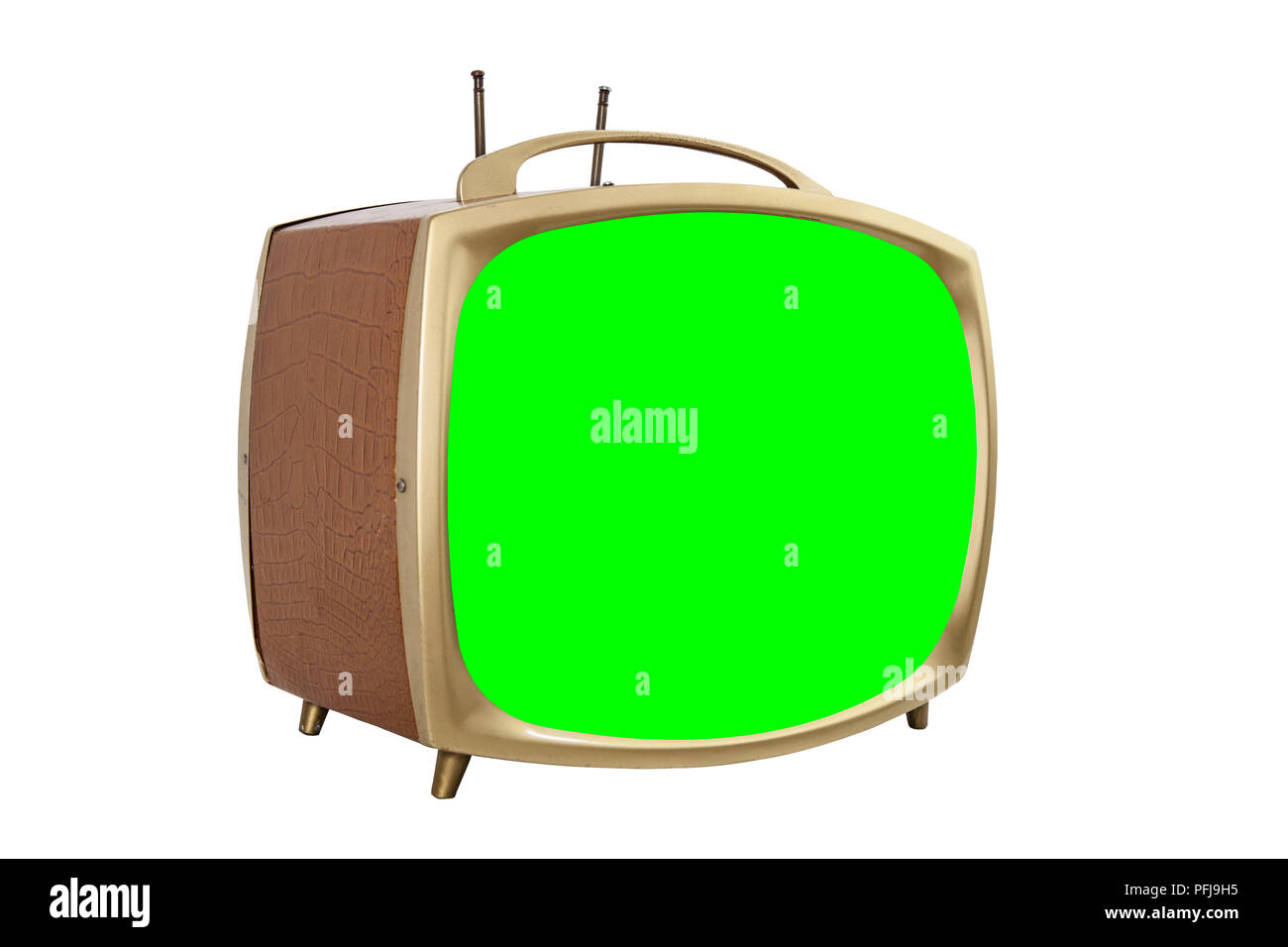 Retro 1950s portable television with chroma key green screen. - Stock Image