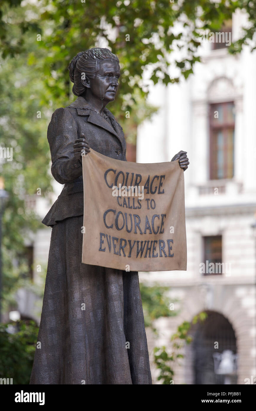 A statue of Millicent Garrett Fawcett, in Westminster, London, UK. She fought for womens suffrage. - Stock Image