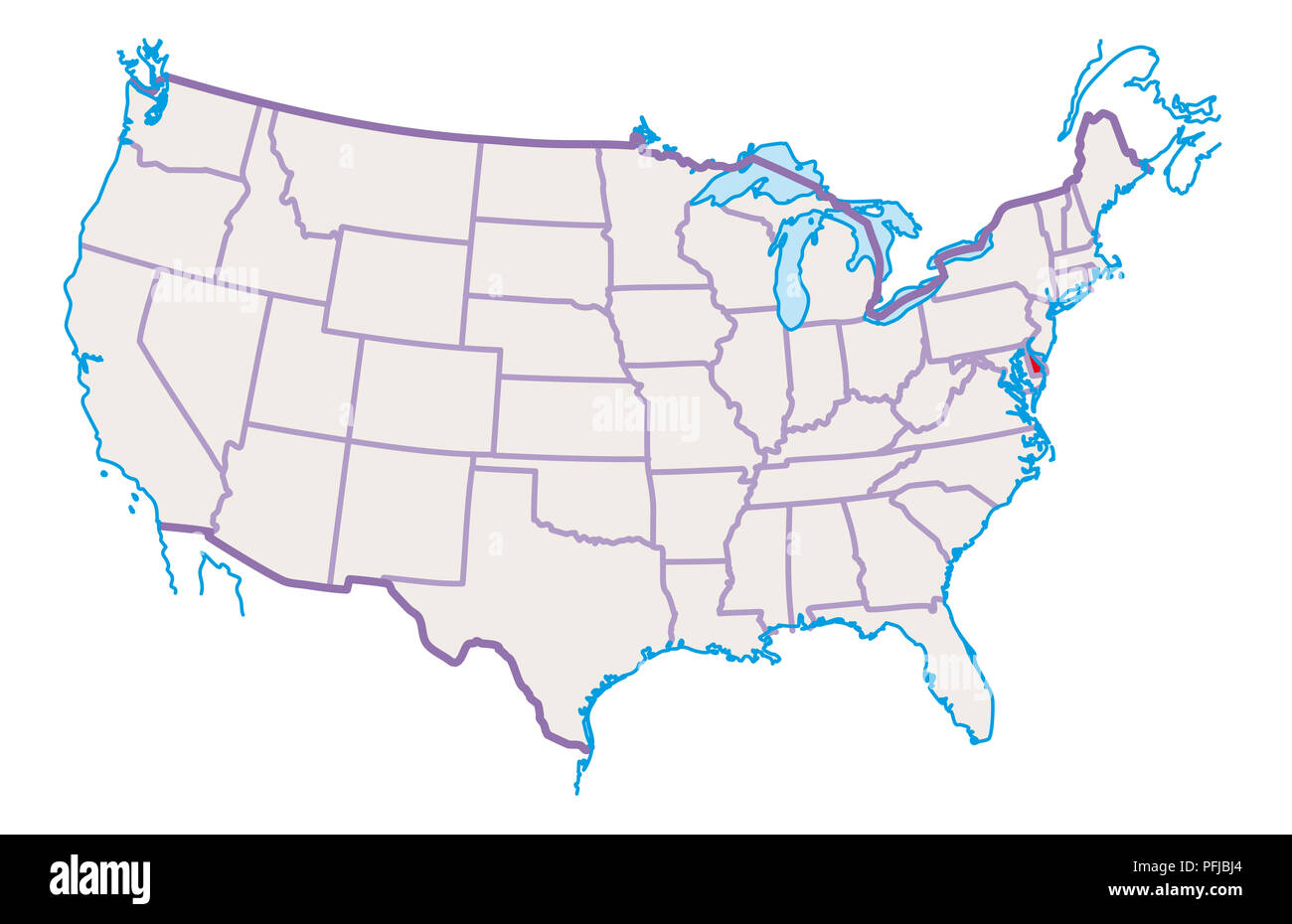 Map of USA, Delaware highlighted in red Stock Photo ...