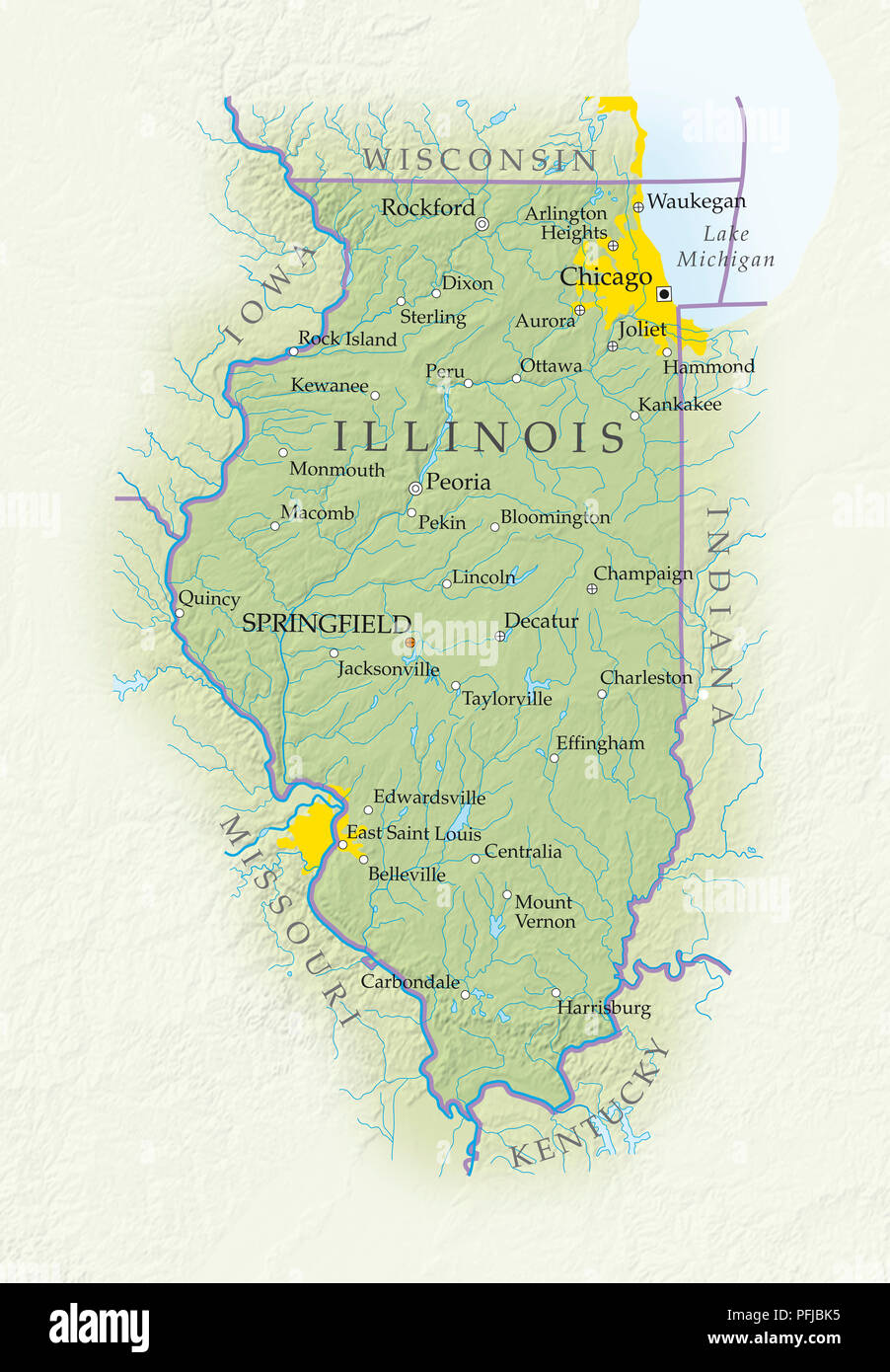 Map of Illinois, close-up Stock Photo: 216148553 - Alamy