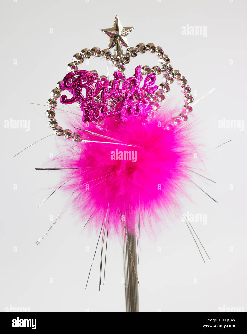 Hen night accessory, wand with pink fake fur and inscription - Stock Image