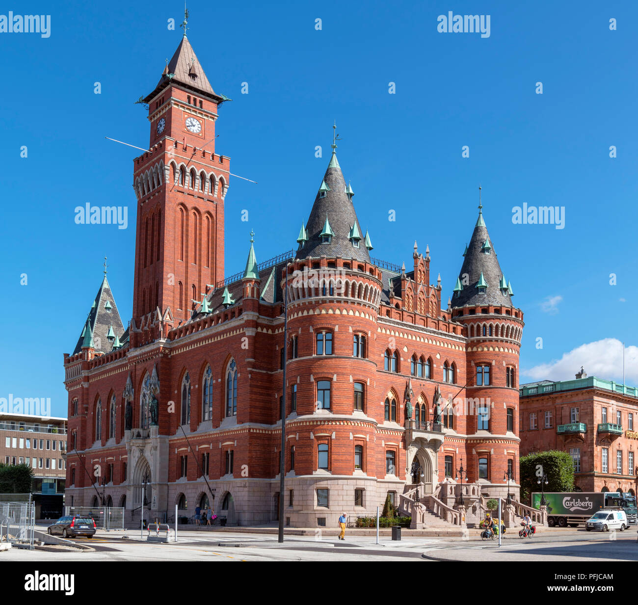 Helsingborg, Sweden. City Hall (Radhuset) in the city centre, Helsingborg, Scania, Sweden - Stock Image