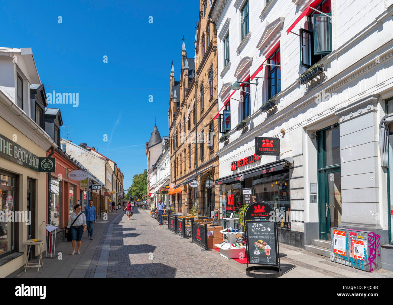 Shops in the old town centre, Lund, Scania, Sweden - Stock Image