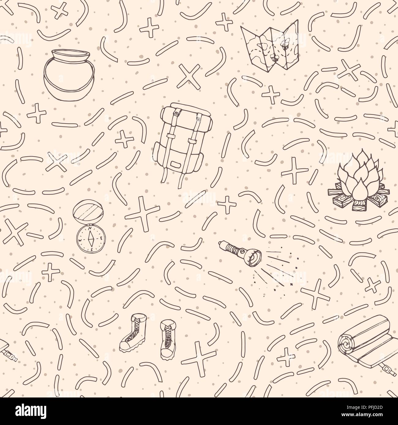 16eb5d129175 Hand drawn vector camping seamless pattern with backpack