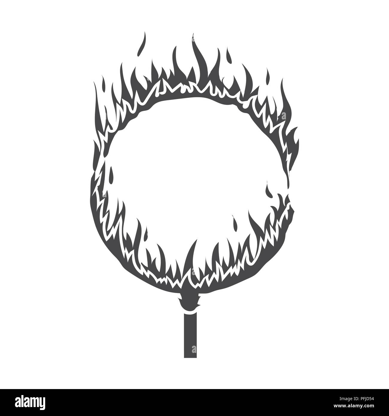 Burning hoop icon in black style isolated on white background. Circus symbol vector illustration. - Stock Image