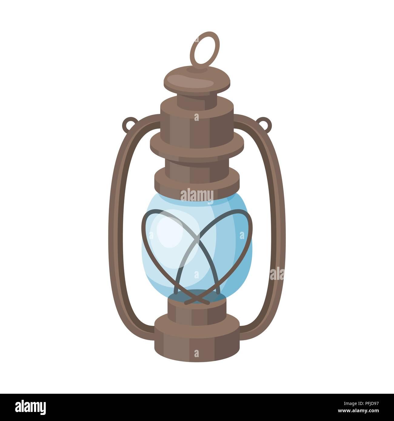 Portable kerosene lamp.African safari single icon in cartoon style vector symbol stock illustration . - Stock Vector