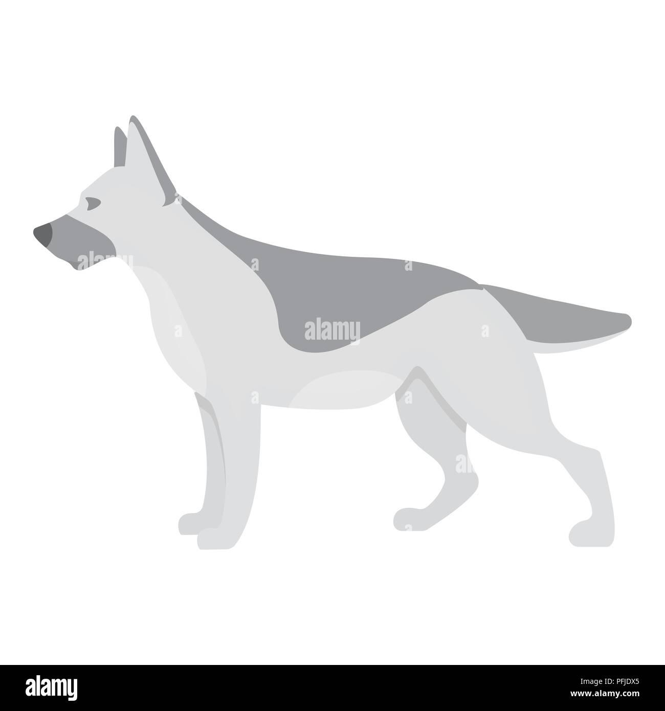 German shepherd vector illustration icon in monochrome design - Stock Vector