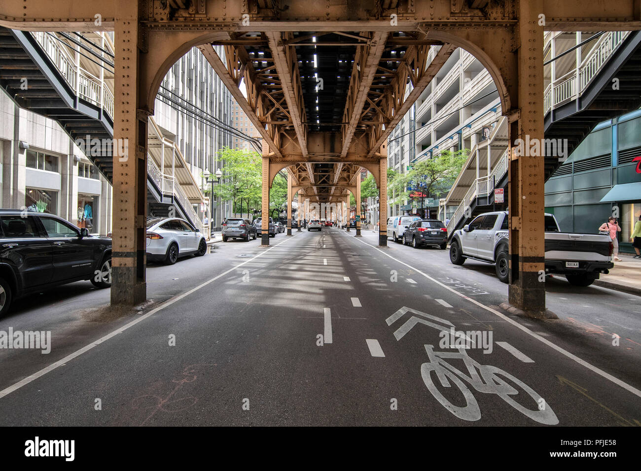 Downtown Chicago, The L elevated tracks in the Chicago Loop,  Chicago. - Stock Image