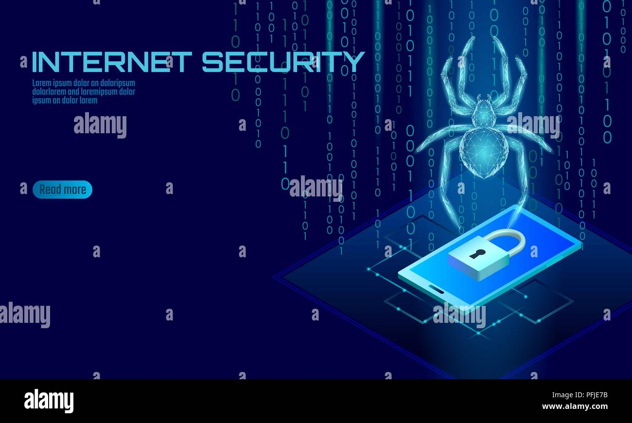 Isometric 3D spider hacker attack danger. Web security virus data safety antivirus concept. Smartphone lock design business concept. Cyber crime web insect bug technology vector illustration - Stock Image