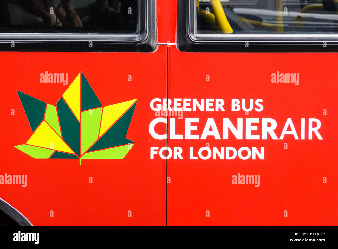 Sign on a new London bus meeting the highest Euro VI emissions standards in the Low Emission Bus Zone between Brixton Road and Streatham High Road. - Stock Image