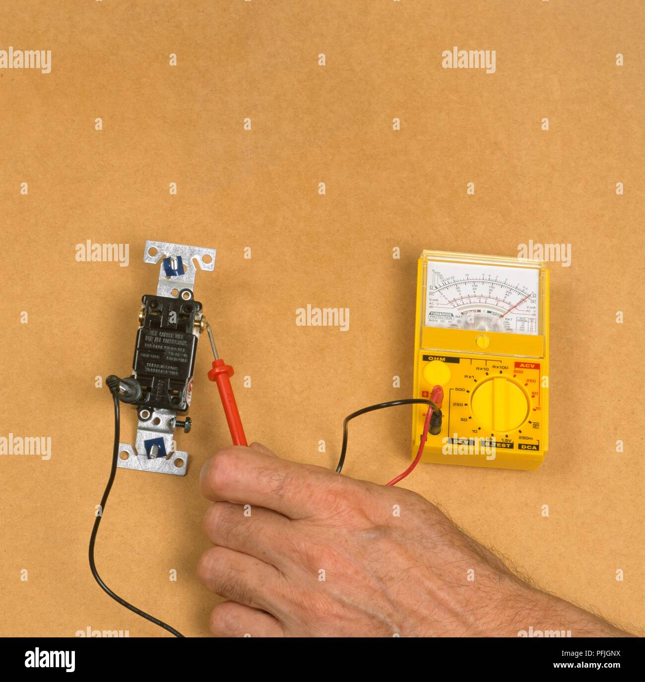 Using Electric Gauge To Test Current Close Up Stock Photo Electricity