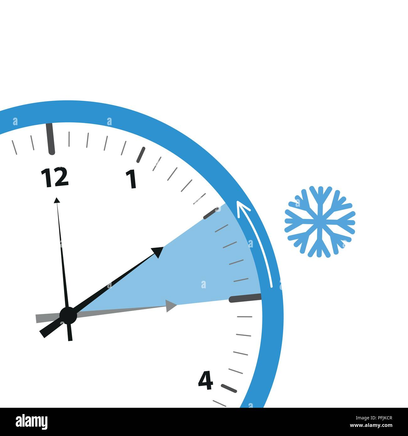 clock switch to winter time detail vector illustration EPS10 - Stock Image
