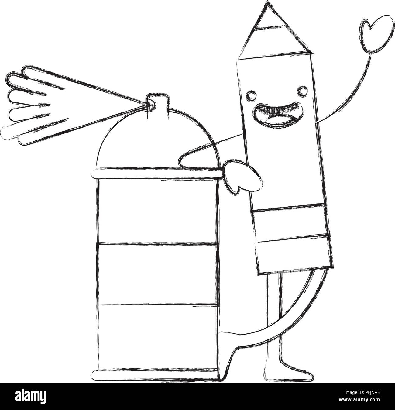 kawaii pencil cartoon character with spray painting vector illustration hand drawing - Stock Vector
