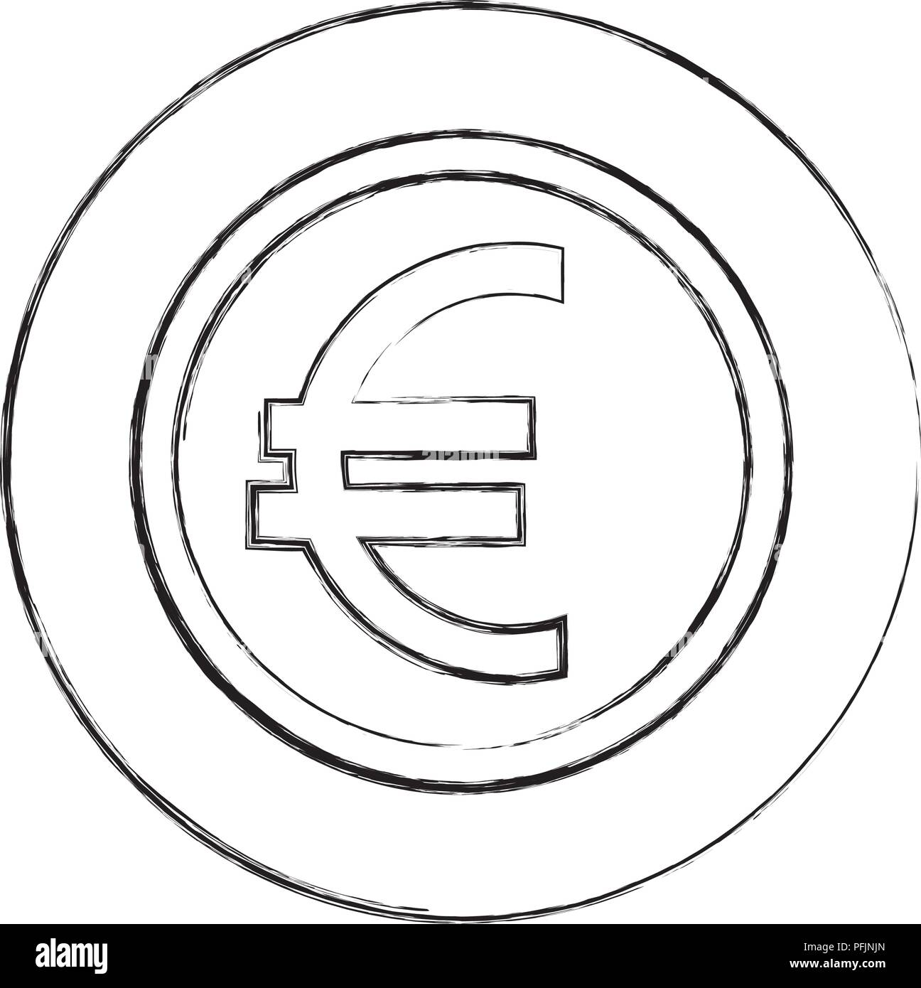 coin currency euro money economy european vector illustration hand drawing - Stock Image