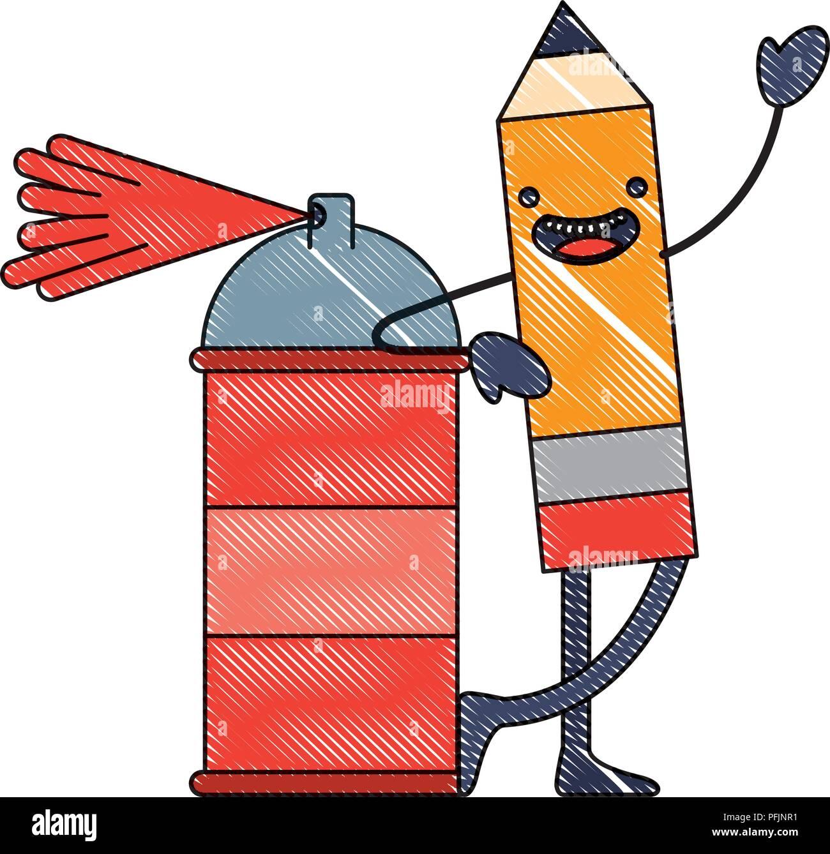 kawaii pencil cartoon character with spray painting vector illustration - Stock Vector