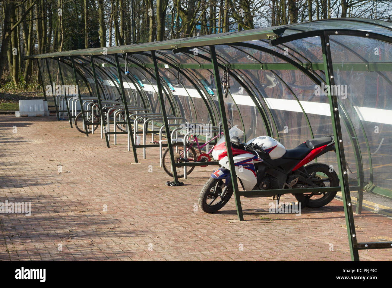 Bike shed outside intu Trafford Centre, Manchester, England. - Stock Image
