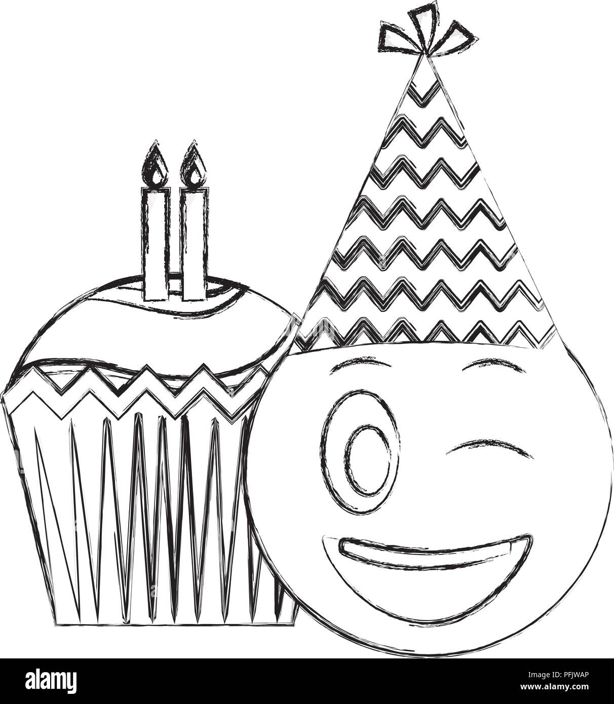 Birthday Emoji With Party Hat And Cupcakes Candles Hand Drawing